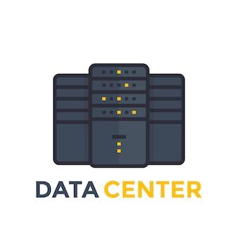 Centre de données, icône de vecteur de serveur