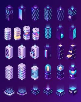 Centre de données isométrique, équipement de salle de serveurs, racks matériels ou icônes d'infrastructure d'hébergement web isolés