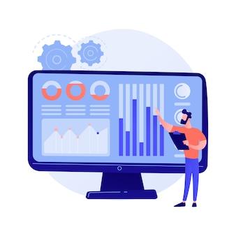 Centre de données des médias sociaux. statistiques smm, étude de marketing numérique, analyse des tendances du marché. expert féminin étudiant les résultats de l'enquête en ligne.