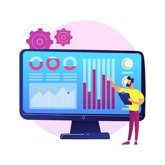 Centre de données des médias sociaux. statistiques smm, étude de marketing numérique, analyse des tendances du marché. expert féminin étudiant les résultats de l'enquête en ligne