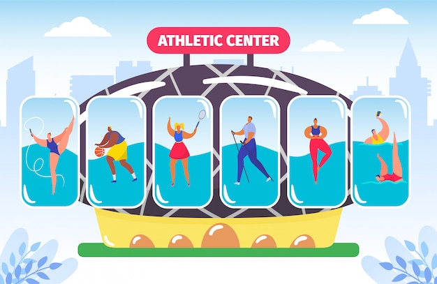 Centre de fitness et d'athlétisme, salle de gym pour différents types de sport, illustration de culturisme d'athlète.