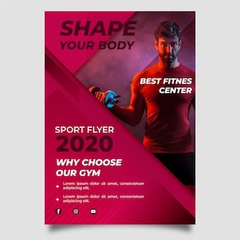 Centre de fitness design affiche sport