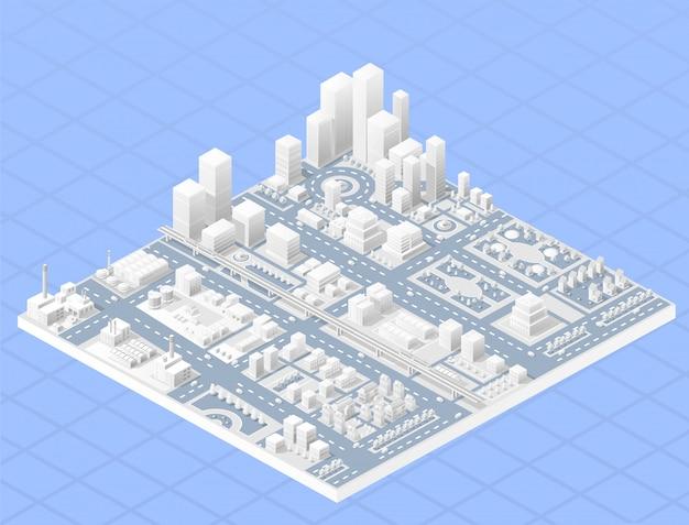 Centre isométrique de vecteur de la ville