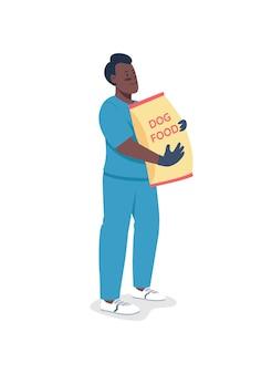 Centre de soins pour animaux de compagnie travailleur afro-américain caractère détaillé plat. vétérinaire avec de la nourriture pour chiens.