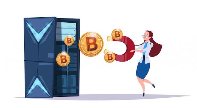 Centre de stockage de données bitcoin avec serveurs et personnel d'hébergement. concept de crypto-monnaie de support de communication d'exploitation minière informatique