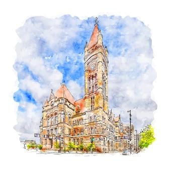 Centre-ville de cincinnati états-unis aquarelle croquis illustration dessinée à la main