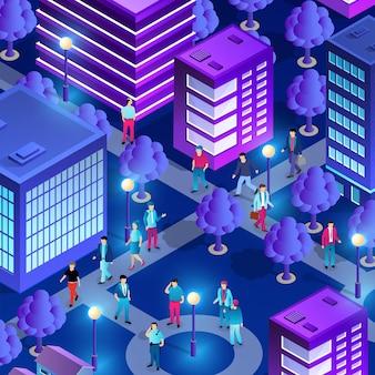 Centre-ville du centre-ville nuit néon ultraviolet marche personnes de bâtiments isométriques