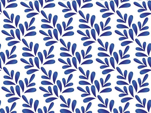 Cerami motif de feuilles bleues et blanches