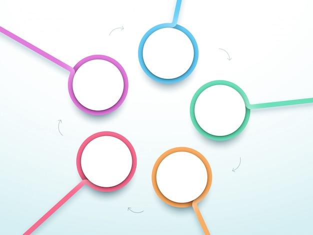 Cercle abstrait cinq étapes infographie 3d vecteur coloré