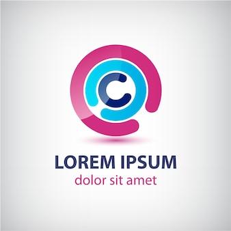 Cercle abstrait icône d'affaires boucle colorée lumineuse isolée