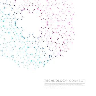 Cercle abstrait se connecter avec fond de points et de lignes de connexion