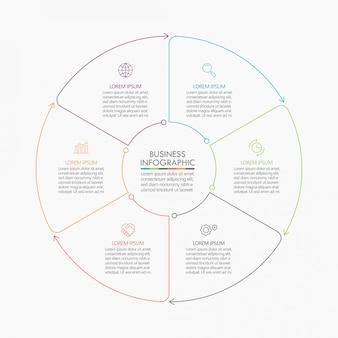 Cercle d'affaires, modèle infographique de la chronologie avec options