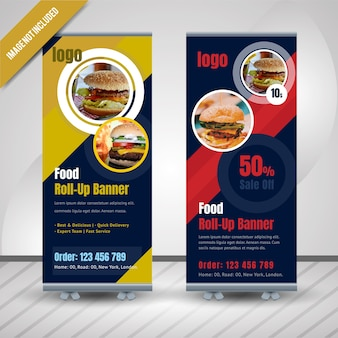Cercle alimentaire roll up banner pour restaurant