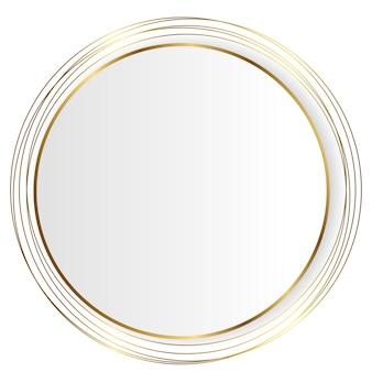 Cercle blanc avec des lignes dorées, arrière-plan vectoriel luxueux simple et moderne en eps10