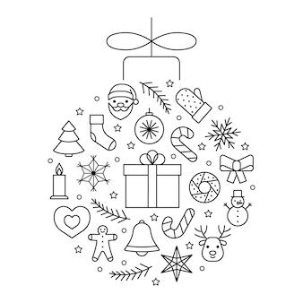 Cercle de boule d'icônes de ligne pour le jouet d'arbre de noël de noël et de nouvel an symbole de contour modifiable