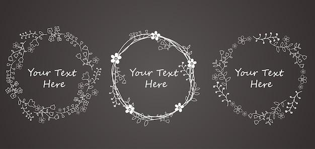 Cercle cadre de fleur de doodle