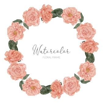 Cercle de cadre peint à la main avec aquarelle florale rose