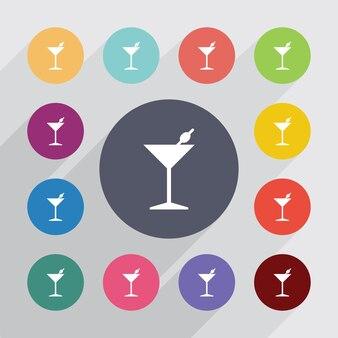 Cercle de cocktail, jeu d'icônes plat. boutons colorés ronds. vecteur