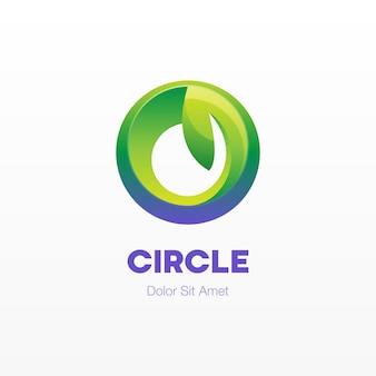Cercle coloré abstrait avec logo feuille