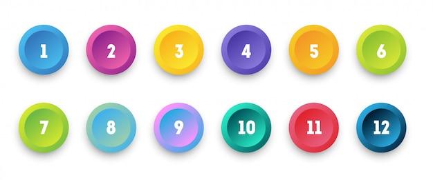 Cercle coloré icône 3d sertie de puce de numéro de 1 à 12.