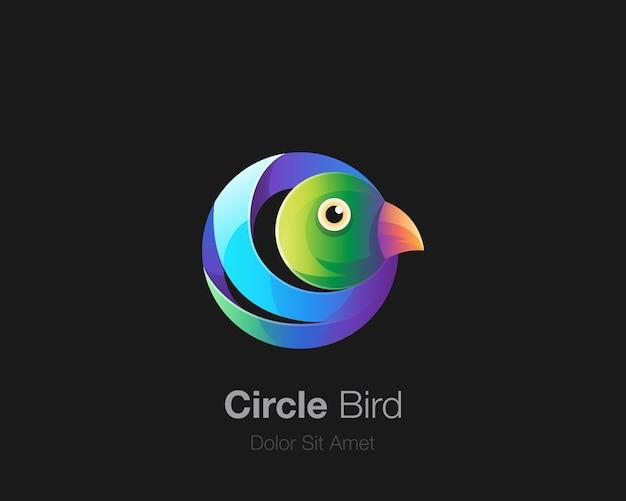 Cercle coloré avec logo oiseau mignon