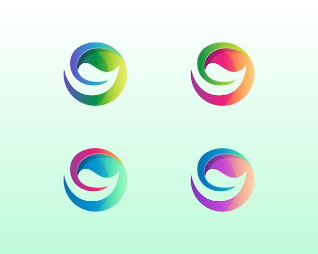 Cercle coloré avec variations de logo de feuille négative