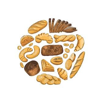 Cercle composé d'éléments de boulangerie colorés dessinés à la main