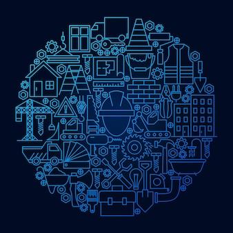 Cercle de concept d'icône de ligne de construction. illustration vectorielle d'objets d'équipement de construction.