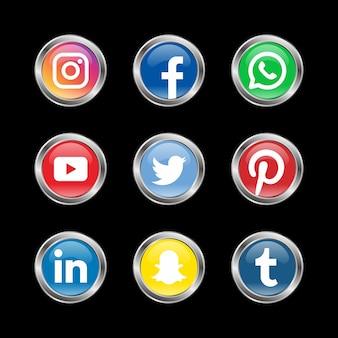 Cercle Conception De Logo De Médias Sociaux Vecteur Premium