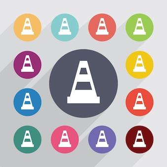Cercle de cône de construction, jeu d'icônes plat. boutons colorés ronds. vecteur