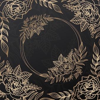 Cercle de couronne de cadre rose floral.style de ligne d'encre.fleur feuille ronde botanique
