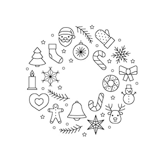 Cercle de couronne d'icônes de ligne pour noël et nouvel an. symbole de contour modifiable. illustration vectorielle