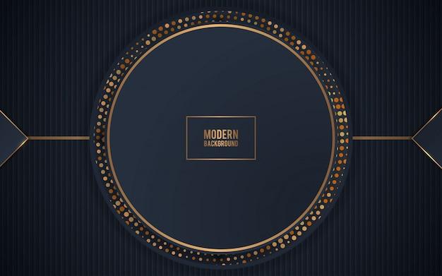 Cercle de décoration noir réaliste avec des paillettes d'or