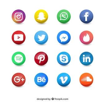 Cercle des icônes de médias sociaux de couleur