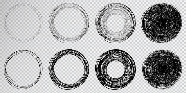 Cercle dessiné à la main sur fond transparent. super ensemble de cercles faits main cerclés. cercles cercles cercles.