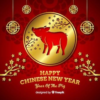 Cercle doré, fond, nouvel an chinois