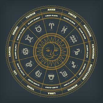 Cercle du zodiaque avec signes de l'horoscope. ligne fine . symboles de l'astrologie et signes mystiques.