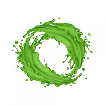 Cercle d'éclaboussures de jus vert sur fond blanc