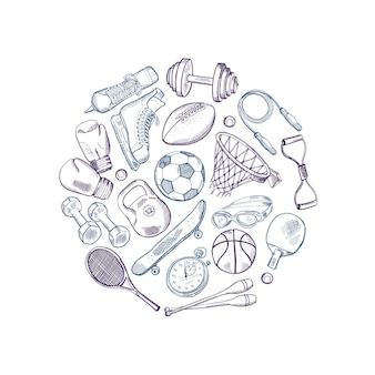 Cercle d'éléments de matériel de sport dessinés à la main