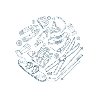 Cercle d'équipement de sports d'hiver dessiné à la main