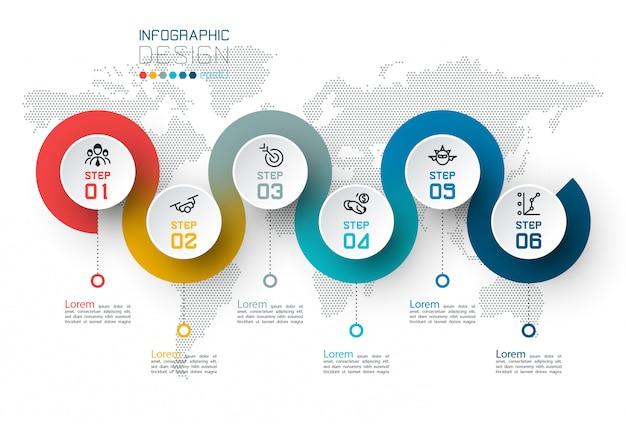 Cercle étiquette infographique avec étape par étape.
