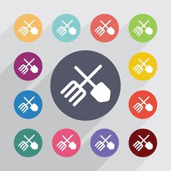 Cercle de ferme, jeu d'icônes plat. boutons colorés ronds. vecteur