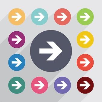 Cercle de flèche, jeu d'icônes plat. boutons colorés ronds. vecteur