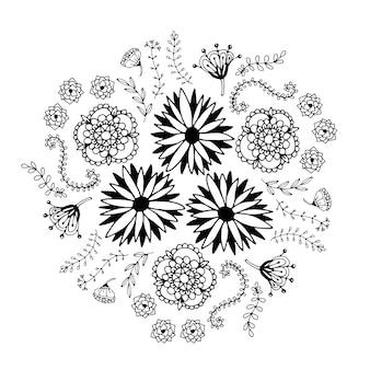 Cercle floral abstrait avec des fleurs de doodle