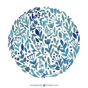 Cercle floral dans le style d'aquarelle