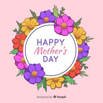 Cercle floral fond de fête des mères