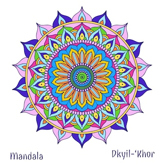 Cercle floral, mandala, symbole de conception, méditation et fleur, motif tribal de décoration. illustration vectorielle