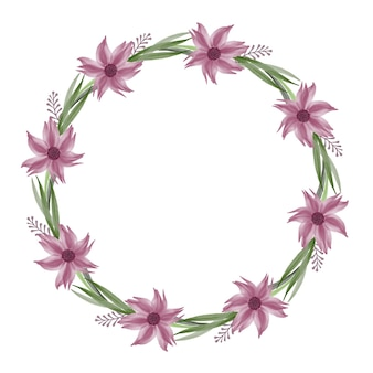 Cercle frsme avec bordure de fleurs violettes et de feuilles vertes pour carte de mariage