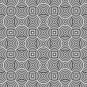 Cercle géométrique chevauchement motif abstrait bande bande sans couture noir et blanc.