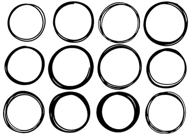 Cercle de gribouillis dessinés à la main